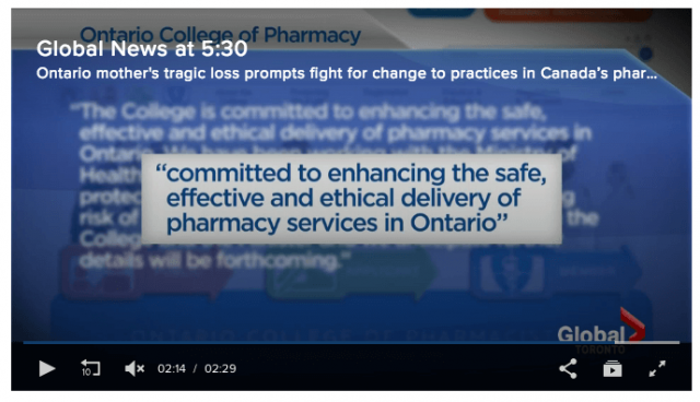 Screenshot of the Global news segment